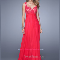 La Femme Lace Bodice Formal Prom Gown 21166