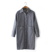 Dark Gray Plaid Lapel Collar Button Up Long Sleeve Mini Dress