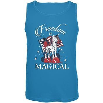 4th Of July Freedom Is Magical Unicorn Mens Tank Top