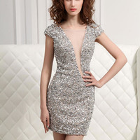 Prom Dresses 2014 - Angela and Alison Short Prom 31016 Silver Beaded