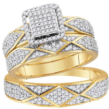 10kt Yellow Gold His & Hers Round Diamond Cluster Matching Bridal Wedding Ring Band Set 3/4 Cttw 114214