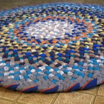 Aquamarine Wool Braided Round Rug from recycled by mrsginther