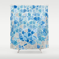 Cubes & Diamonds in Blue & Grey Shower Curtain by Micklyn