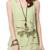 Women Flower Printed Layered Linen Tank Top
