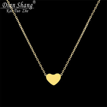 DIANSHANGKAITUOZHE Women Jewelry Stainless Steel Chain Necklace Gold Plated Dainty Tiny Heart Shaped Necklaces Pendants