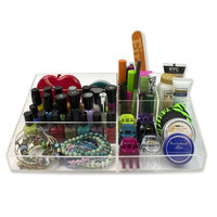 """Cosmetic Organizer - 19 Compartment Acrylic Makeup Organizer (12.5"""" X 8.5"""") By D'eco"""