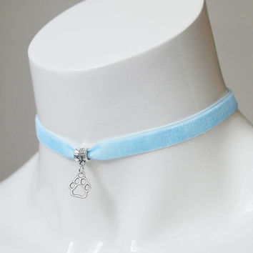 Kitten play day choker - velvet ribbon - turquoise blue with paw pendant - kittenplay ddlg cute necklace for everyday wearing by nekollars