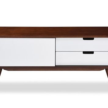 Baxton Studio Armani Mid-century Modern Dark Walnut and White Two-tone Finish 2-drawer with Sliding Door Wood TV Cabinet Set of 1