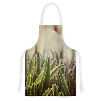 "Jillian Audrey ""Green Grass Cactus"" Green Brown Artistic Apron"