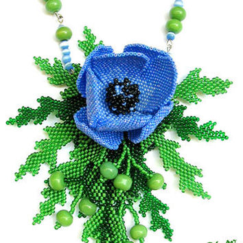 Beaded pendant anemone, wind flower, beaded necklase, exclusive handmade bib, summer 2014, blue, green, jewelry with gemstone, cobalt blue