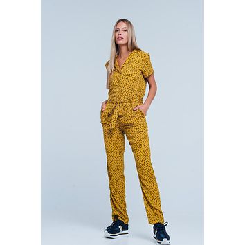 Mustard Jumpsuit In Animal Print