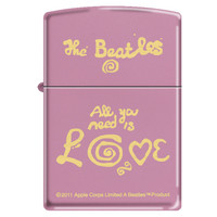 Zippo 3043 Classic Beatles All You Need Is Love Pink Matte Finish Windproof Pocket Lighter