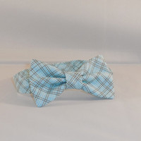 Blue and Brown Plaid Boy's Adjustable Bow Tie