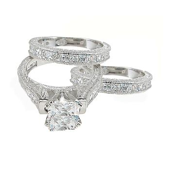 Antique Estate Style 3 Piece Wedding Ring Set Sterling Silver