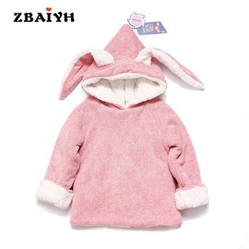 Padded Hooded Infant Baby Girls Jacket Thick Fleece Warm Jacket Cute Outerwear Cartoon Cosplay Cotton-Padded Coats Ears Rabbit