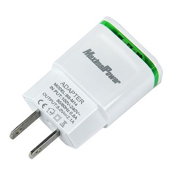 MaximalPower Dual USB port  2.1A/5V wall charger AC Adapter with LED light