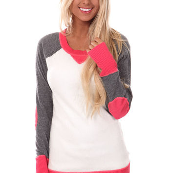 Dark Coral Round Neck Long Sleeve Sweater with Contrast Trim and Sleeves