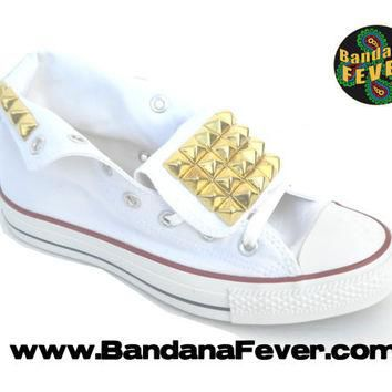 Bandana Fever Custom Studded White Converse All-Star Chuck Taylor Hi Top Big Gold Pyra