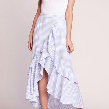 BB Dakota - Go Gingham Tiger Sky White Ruffled Maxi Dress
