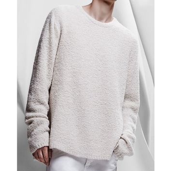 MensSide Slit Crew Neck Furry Sweater at Fabrixquare