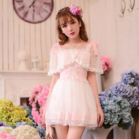 S/M/L Dreamy Pinky Fairy Lace Summer Dress SP152338