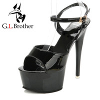 G.L.Brother Patent Leather Stripper Shoes Sexy Pole Dancing Heels Black Fashion Platform Sandals Back Strap Sandals Women 2017