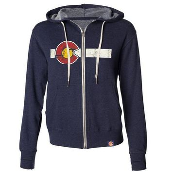 Classic Colorado Flag French Terry Zip Hoodie - Navy
