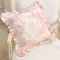 Chic Romantic Pink Rose Pillow with Ruffle - The Bella Cottage