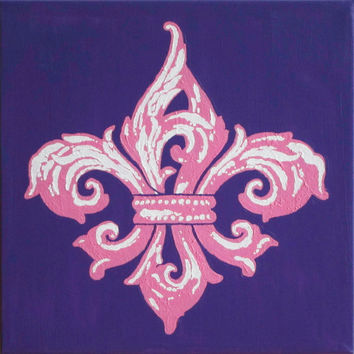 "Fleur de Lis Painting, Purple & Pink, Acrylic on Canvas 12""x12"" Original Art, New Orleans Saints Decor, Kappa Gamma, Wall, Christmas Gift"