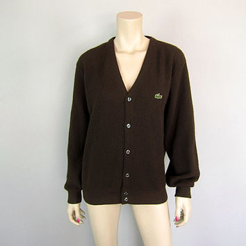 Vintage 1960s Izod Lacoste Espresso Brown Cardigan Sweater 60s Golf Tennis Preppy Alligator Boyfriend mens L womens unisex emo hipster