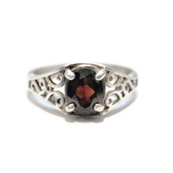 Oval Garnet Sterling Silver Ring, Scroll Design, Size 7 1/2