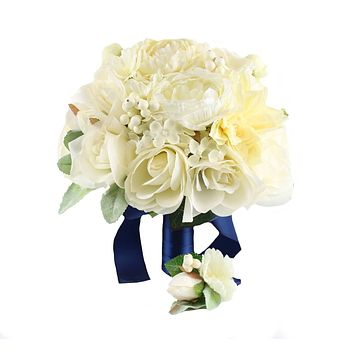 2pc set of Bouquet and Boutonniere-Artificial Keepsake long lasting flowers shades of ivory cream *Pick ribbon color*