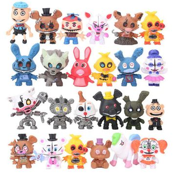 24Pcs/Set  At  4  Action Figure Toys 5-7CM Q Styles Freddy Foxy Bear Bonnie Chica Vinyl Dolls For Kids