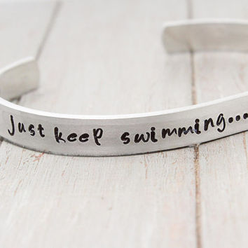 Finding Nemo Cuff, Just Keep Swimming Cuff, Hand Stamped Cuff, Inspiration Cuff, Dory Cuff, Positive Quote, Personalized Jewelry