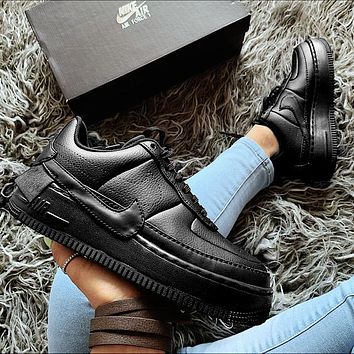 Nike Air Force 1 AF1 JESTER Transformed Crooked Sneakers Flat Shoes Full Black