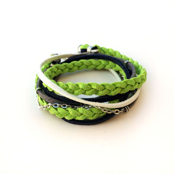 Seahawks Suede Wrap Bracelet Navy Blue White Neon Green Braided