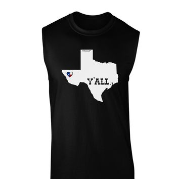 Texas State Y'all Design with Flag Heart Dark Muscle Shirt  by TooLoud