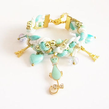 Mint braided bracelet with kitty charm , kawaii pastel bracelet , lolita accessories