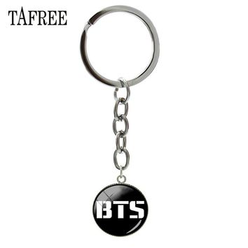 TAFREE New BTS Logo Key Chain Personalized Bangtan Boys Album Photo Art Silhouette Keychain Jewelry For Friend Gift BTS06