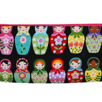 NEW Nesting Dolls Pencil Case | Russian Dolls Makeup Bag | Stacking Dolls Zipper Bag | Black Bag | Colorful Cosmetic Bag