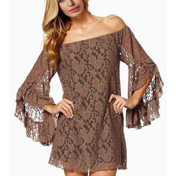 Florla Lace Off Shoulder Angel Sleeve Mini Dress