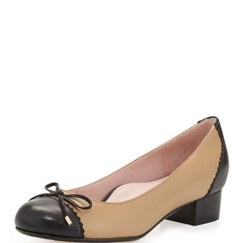 Jerome Nappa Leather Cap-Toe Pump, Natural - Taryn Rose