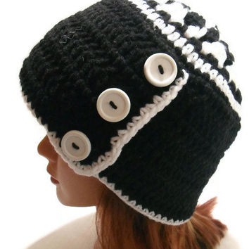 Crochet Three Button Tab Beanie in Black and White with White Buttons