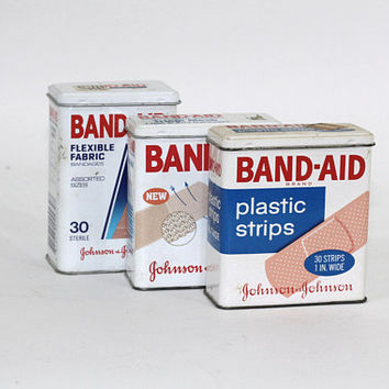3 Vintage Metal Bandaid Boxes | Vintage First Aid | Bandaid Tins Codes 4949, 5626, 4430 | Johnson & Johnson 80's-90's Vintage Medical
