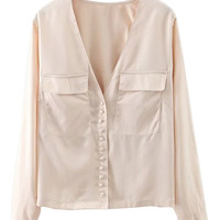 Beige V-neck Pockets Open Back Shirt