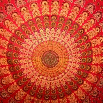 Red Mandala Tapestry Double  - Mellow Mood