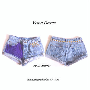 Velvet Dream Jean Shorts. Sale. Free shipping in USA. Hipster, Soft Purple velvet. Gold Studs. Small. 4