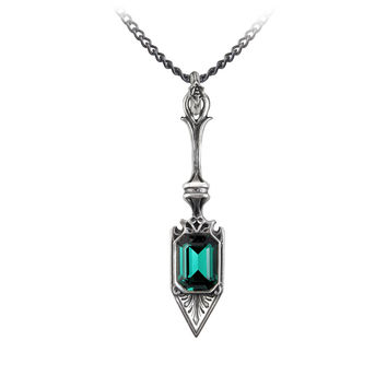 Alchemy Gothic Sucre Vert Absinthe Spoon Pendant Necklace w/ Emerald Green Swarovski Crystal
