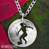 Woman's soccer necklace, girls sports, hand cut coin jewelry