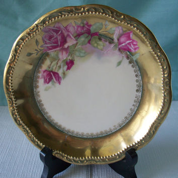 Vintage Porcelain Plate With Pink Cabbage Roses On a White Background And Gold Trim 6 1/4 inches